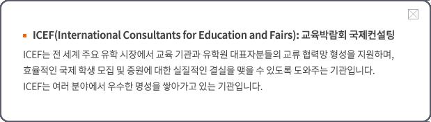 ICEF 교육박람회 국제컨설팅